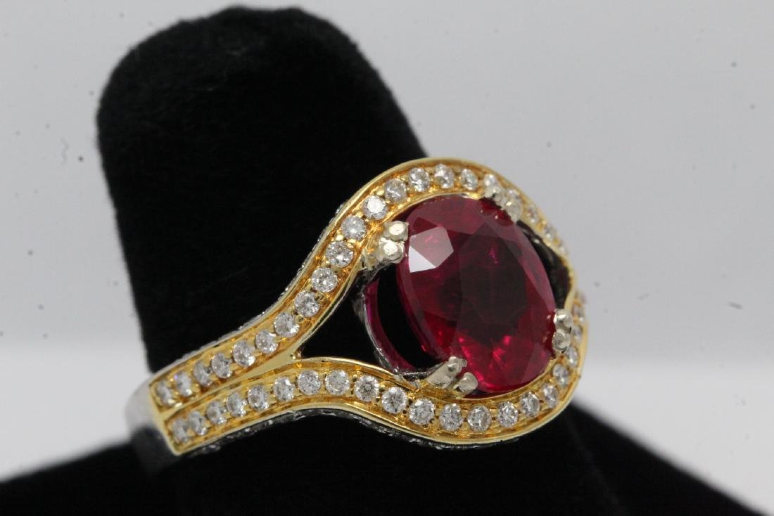18K 2 tone gold ruby diamond ring - 4