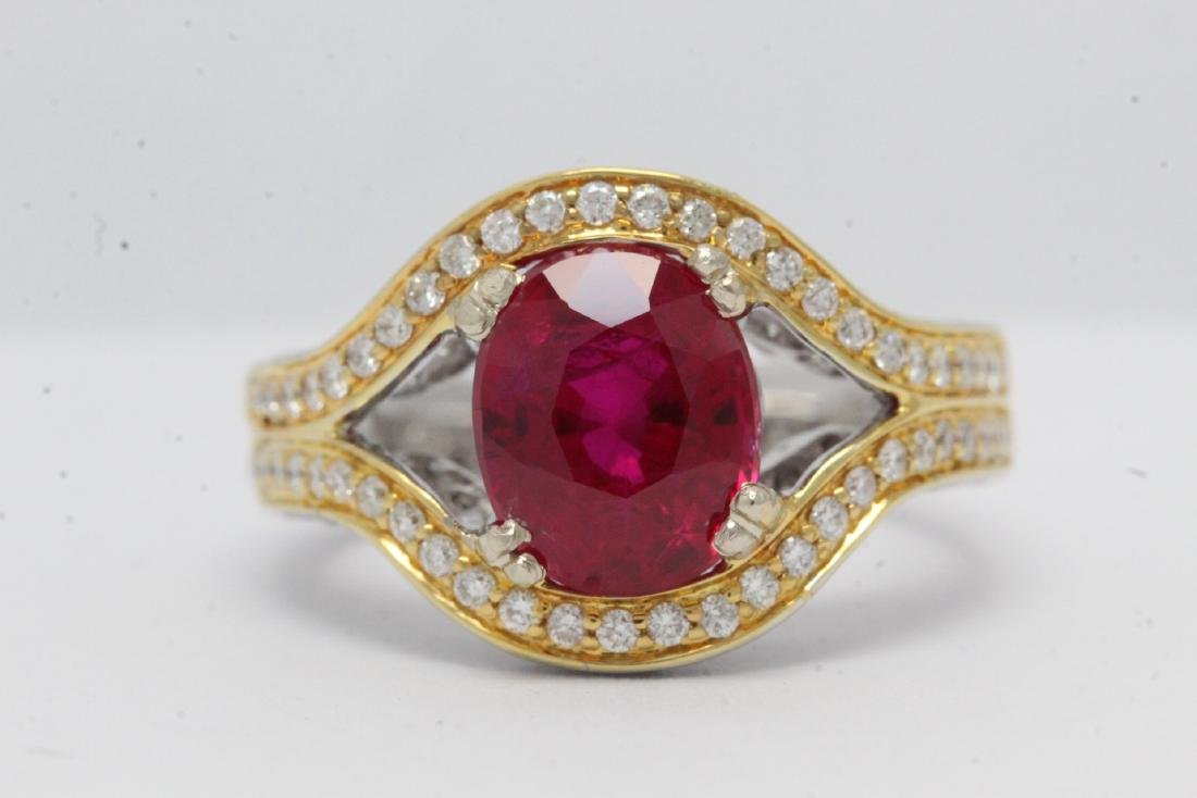 18K 2 tone gold ruby diamond ring - 5