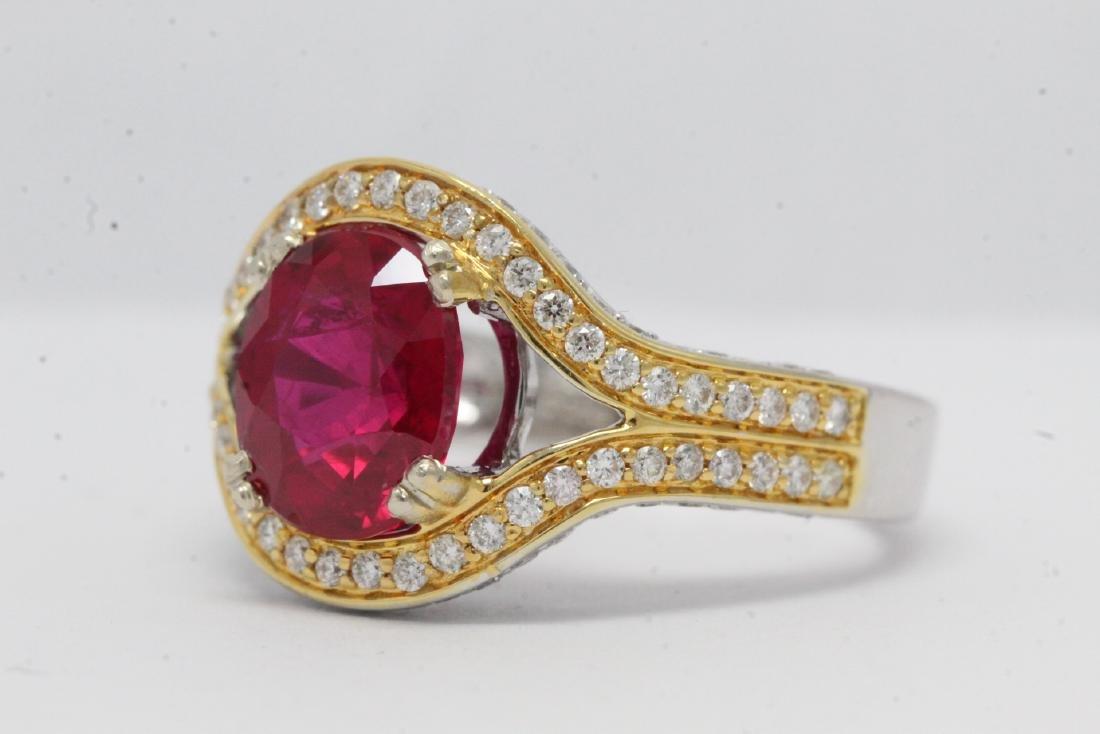 18K 2 tone gold ruby diamond ring - 6