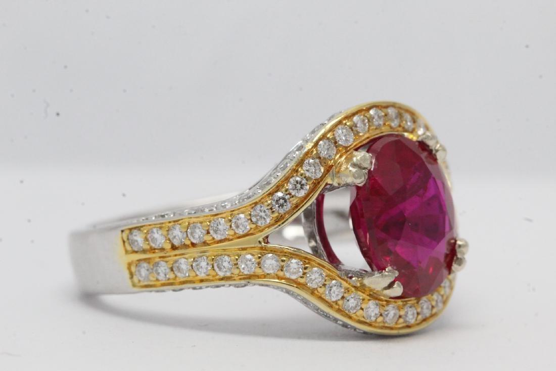 18K 2 tone gold ruby diamond ring - 7