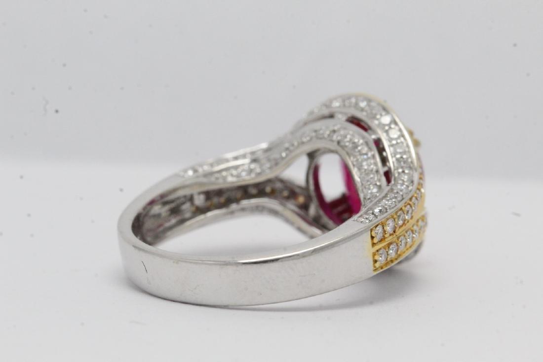 18K 2 tone gold ruby diamond ring - 8