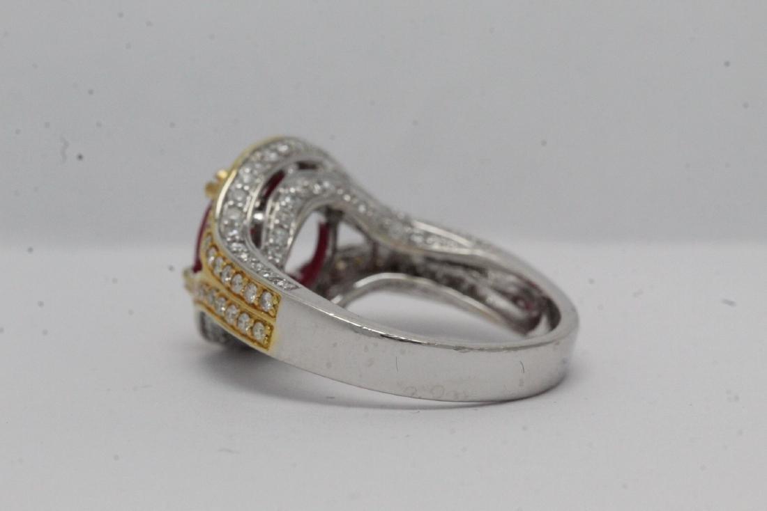 18K 2 tone gold ruby diamond ring - 9
