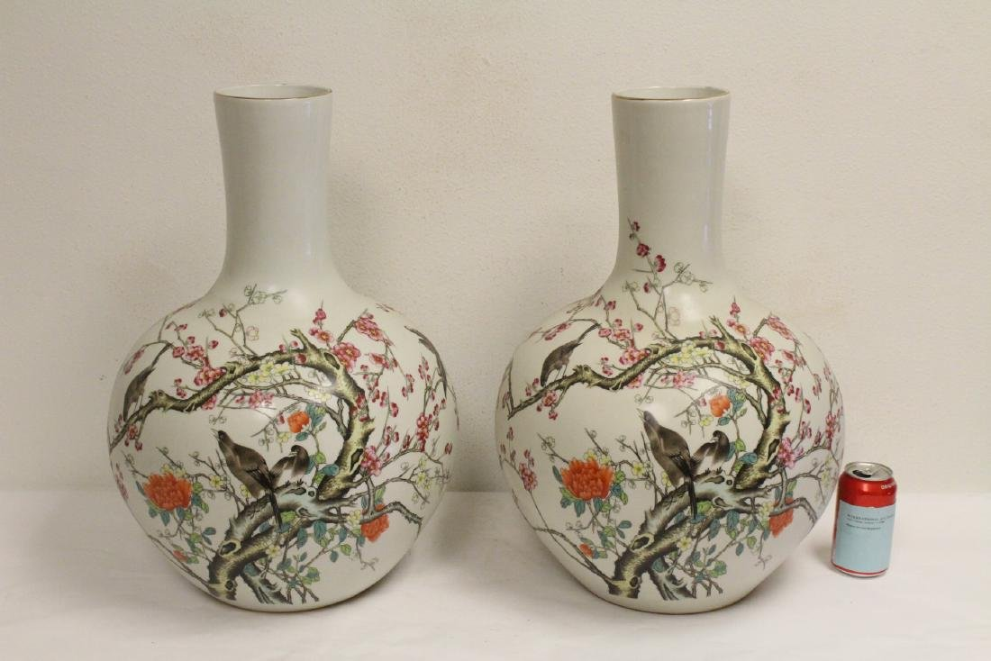 Pair large Chinese famille rose porcelain vases