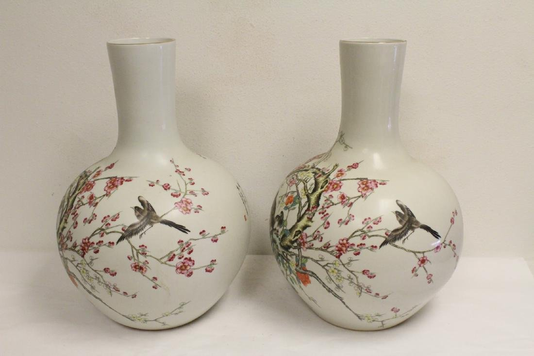 Pair large Chinese famille rose porcelain vases - 2