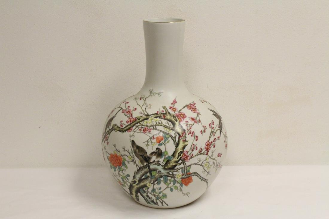 Pair large Chinese famille rose porcelain vases - 8