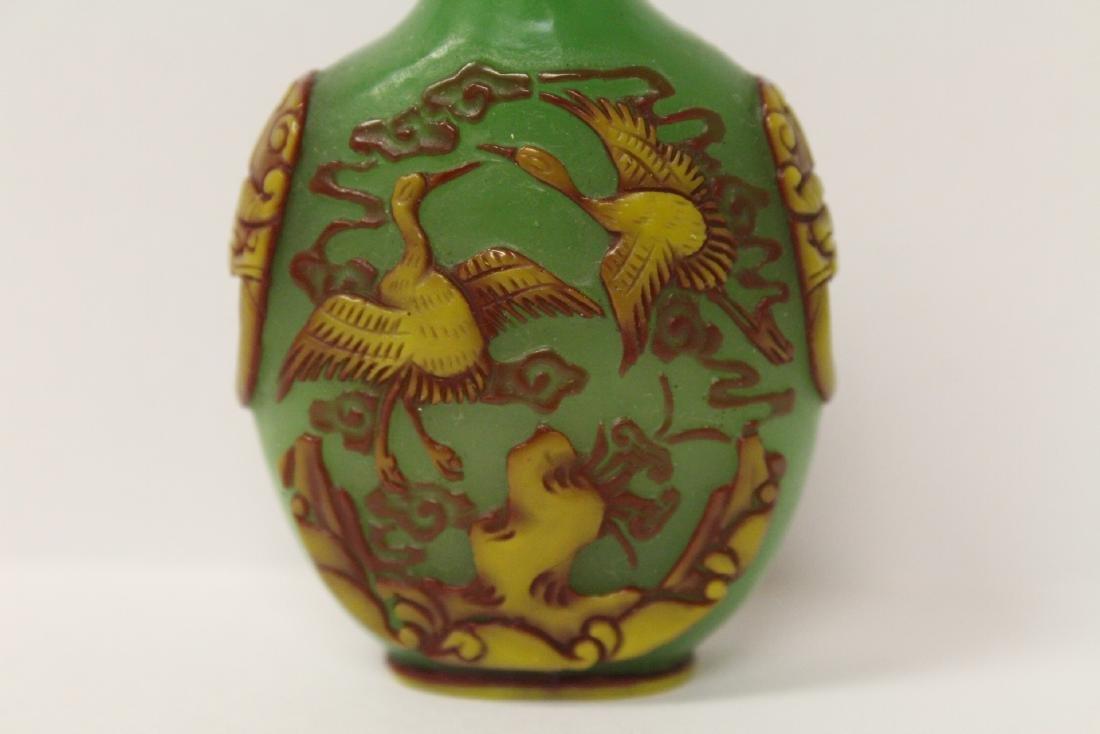 An overlay green Peking glass snuff bottle - 2
