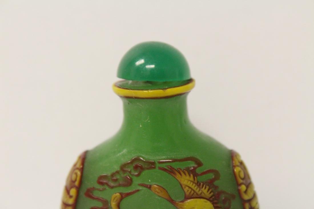 An overlay green Peking glass snuff bottle - 3