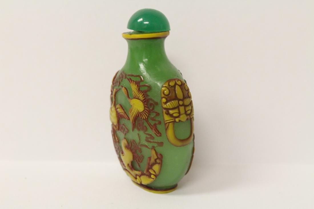 An overlay green Peking glass snuff bottle - 4