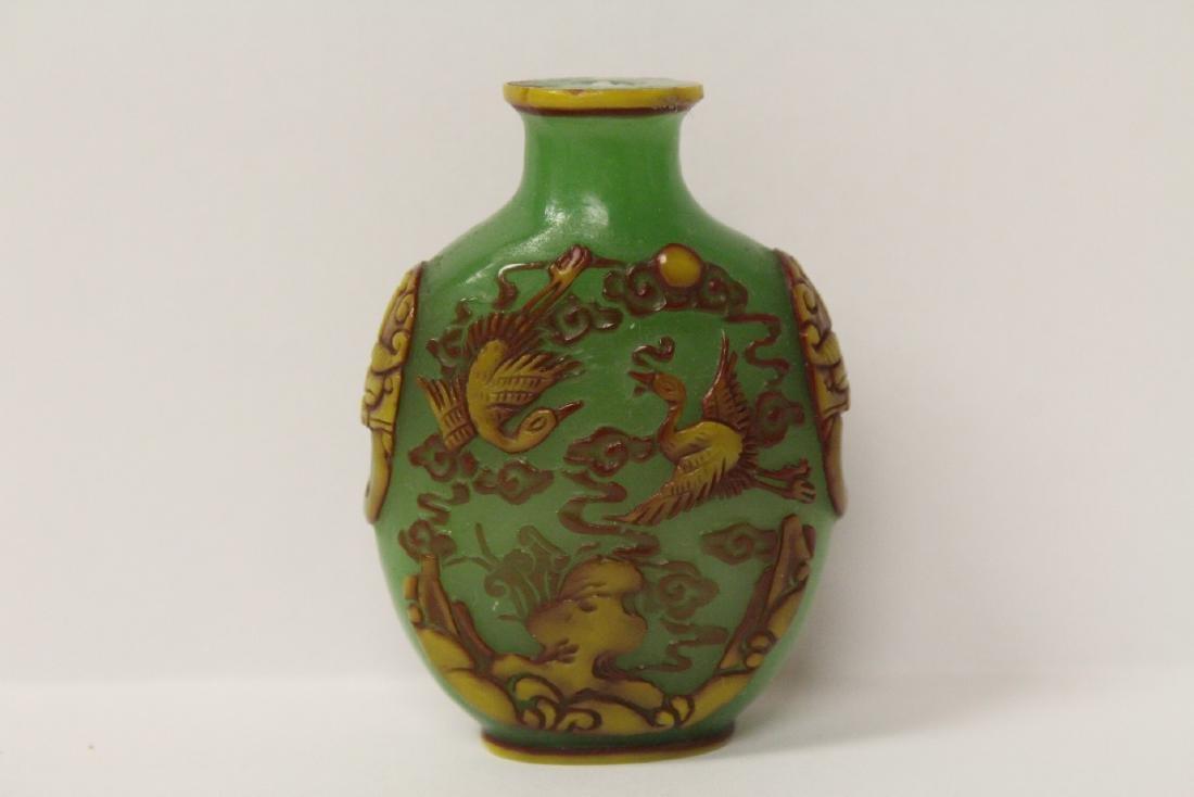 An overlay green Peking glass snuff bottle - 7