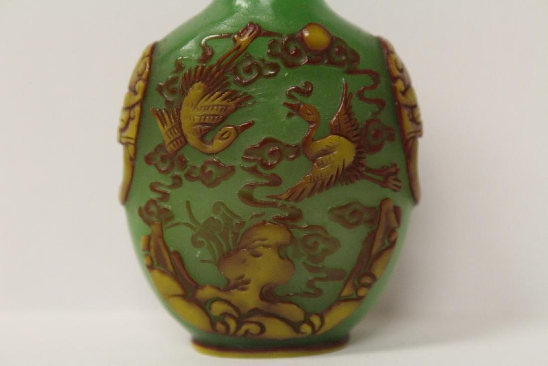 An overlay green Peking glass snuff bottle - 8