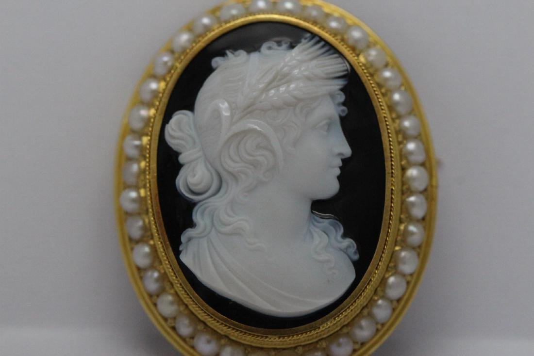 18K Y/G Victorian onyx carved cameo brooch/pendant - 2