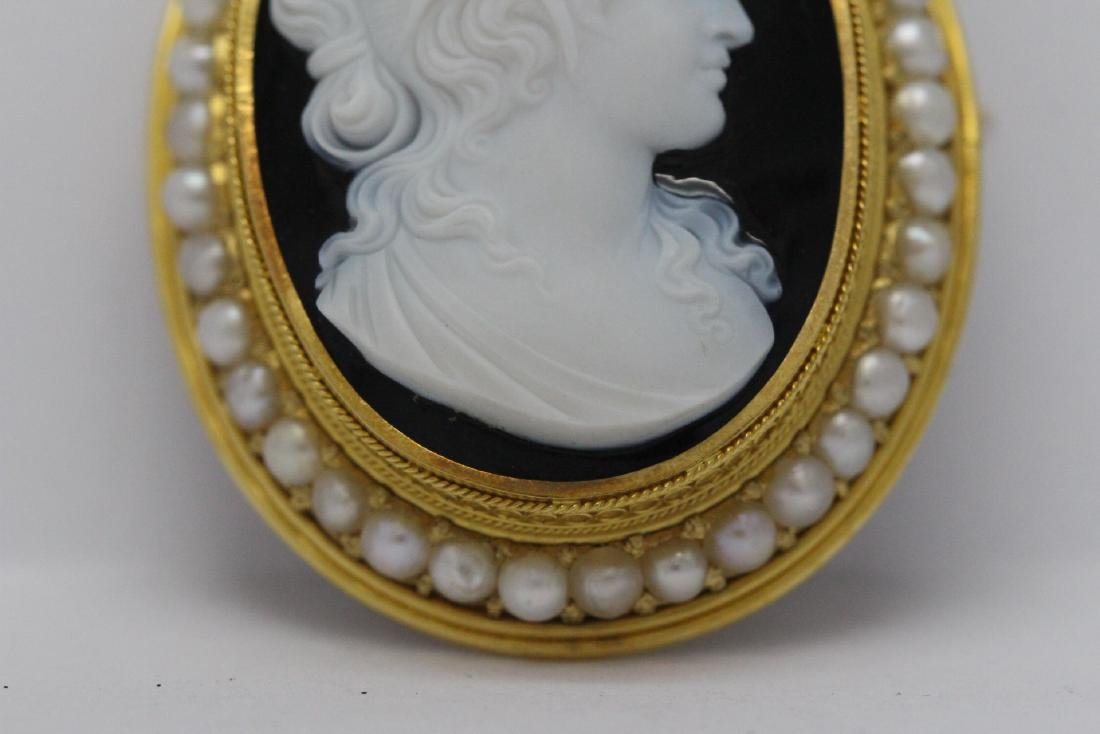 18K Y/G Victorian onyx carved cameo brooch/pendant - 3