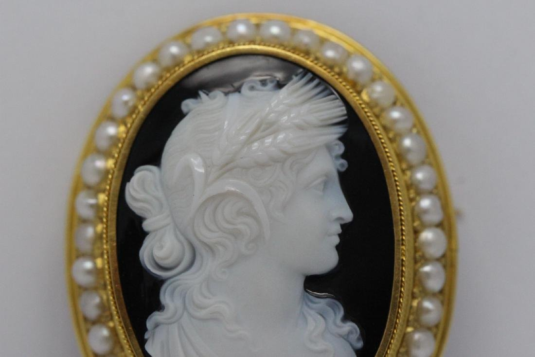 18K Y/G Victorian onyx carved cameo brooch/pendant - 4
