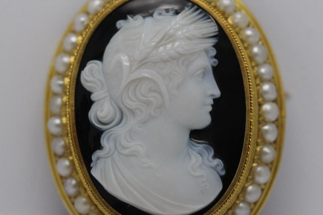 18K Y/G Victorian onyx carved cameo brooch/pendant - 5