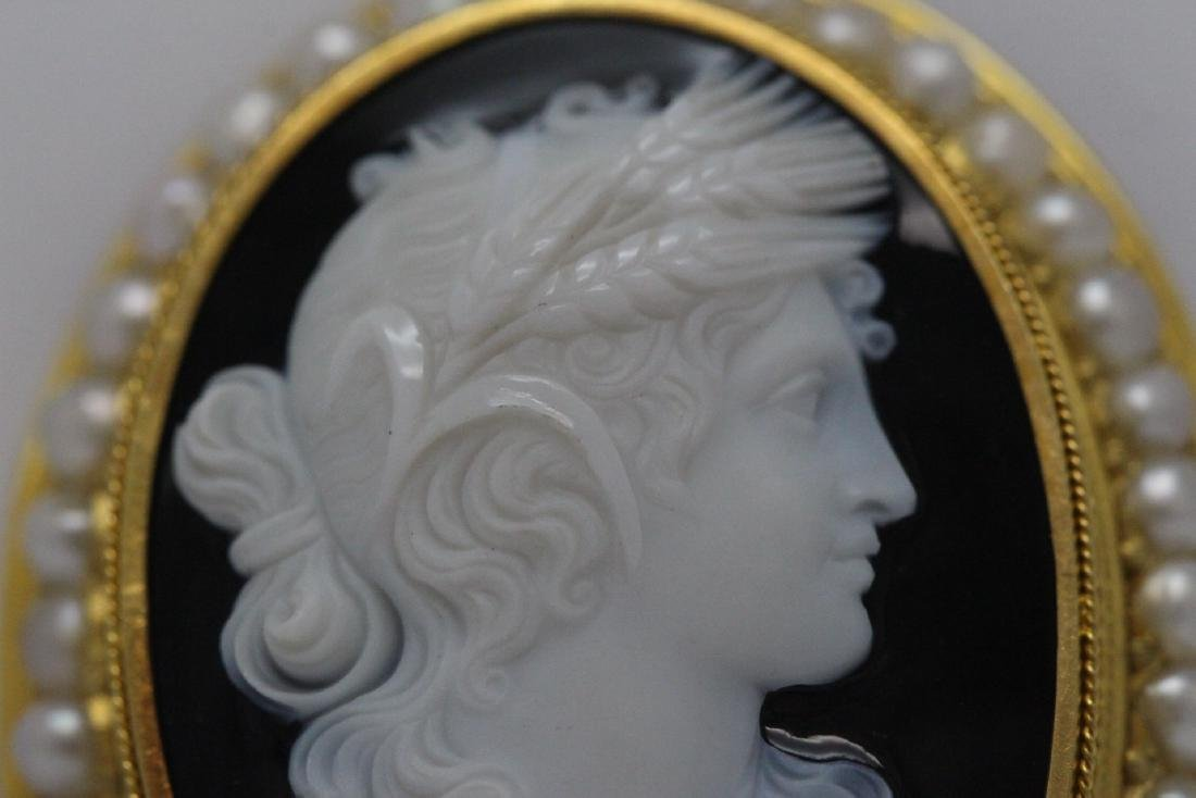 18K Y/G Victorian onyx carved cameo brooch/pendant - 6