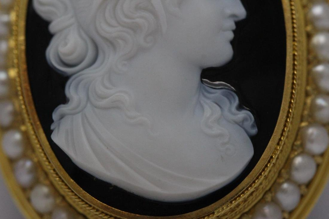 18K Y/G Victorian onyx carved cameo brooch/pendant - 7