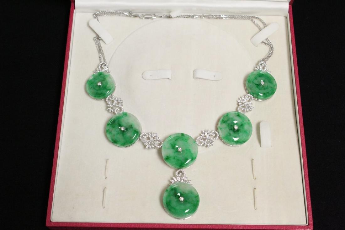 18K W/G jadeite diamond necklace w/ GIA report