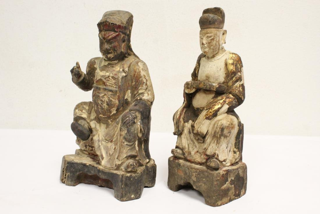 2 Chinese antique wood carved deity - 10