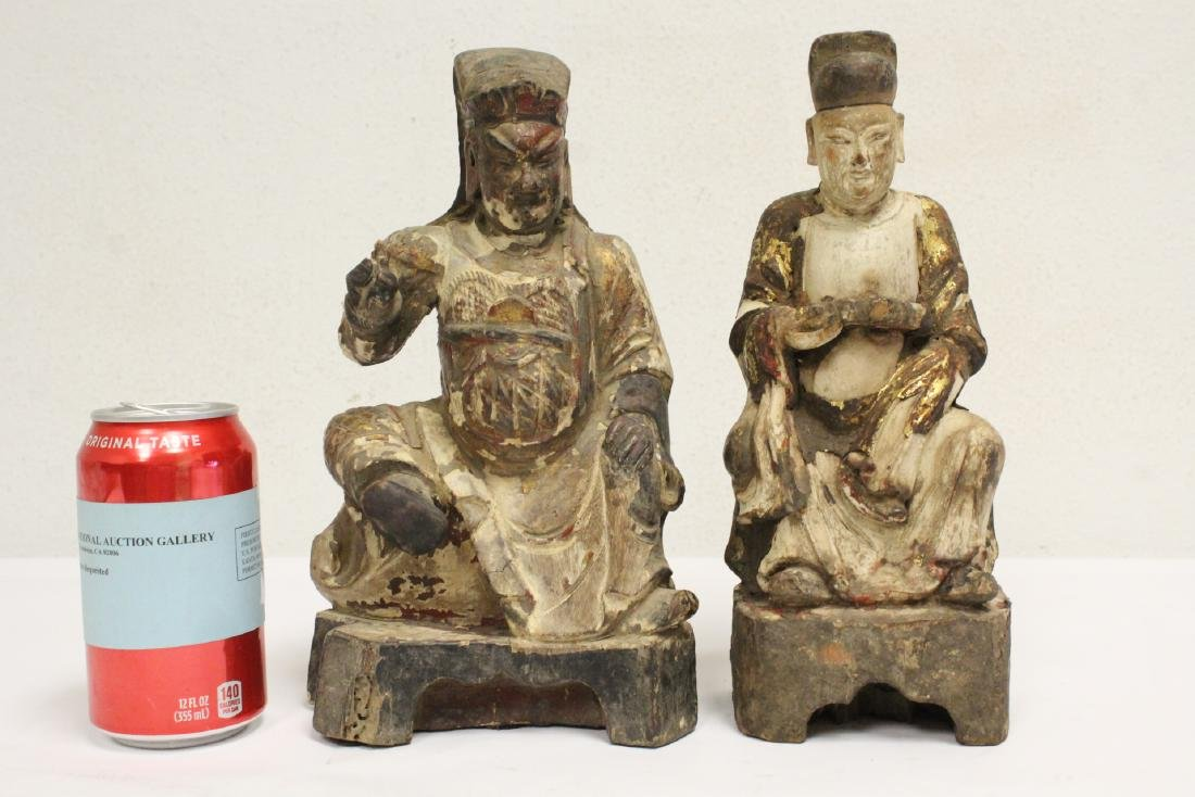 2 Chinese antique wood carved deity