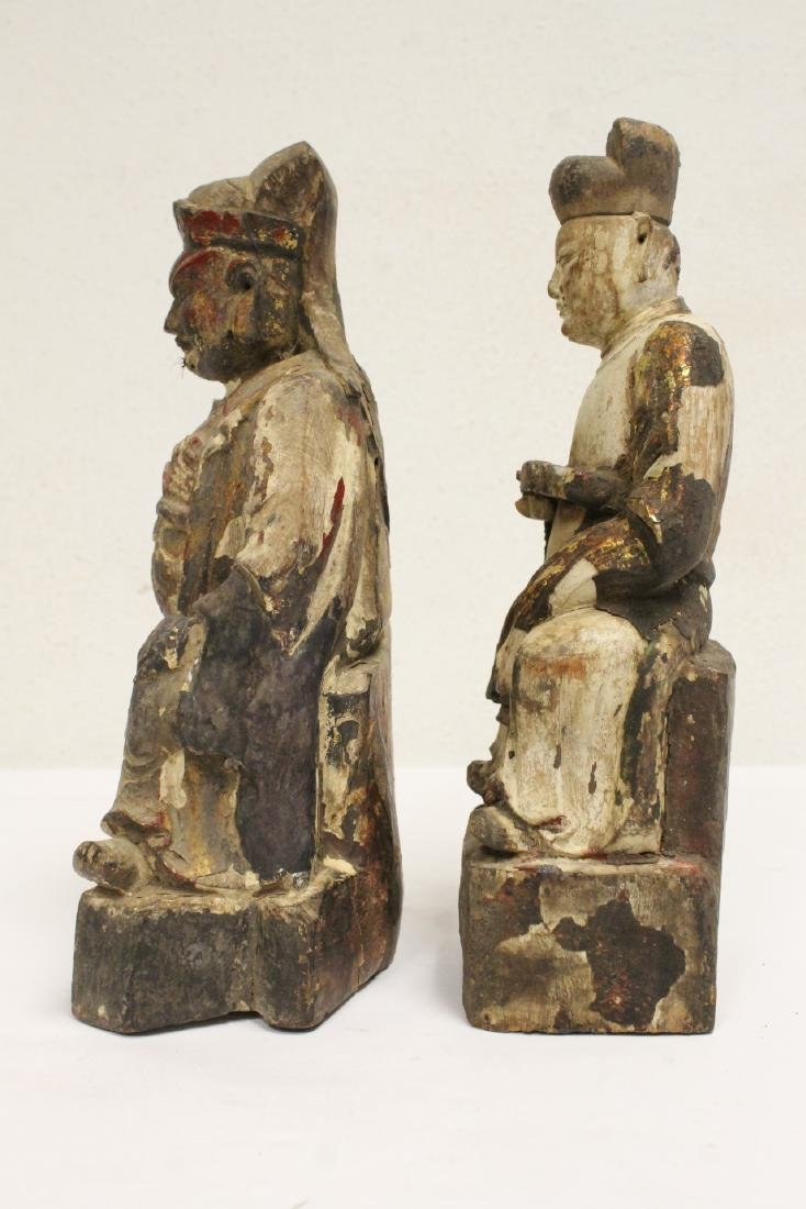 2 Chinese antique wood carved deity - 2
