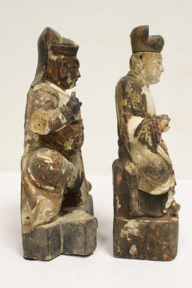2 Chinese antique wood carved deity - 3