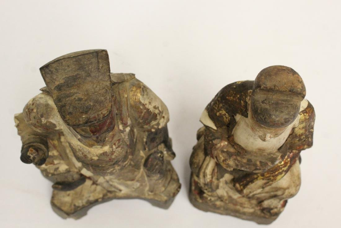 2 Chinese antique wood carved deity - 4