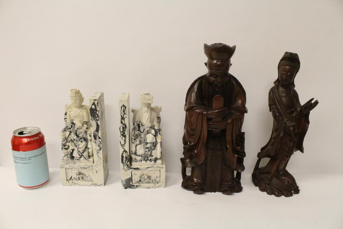 2 rosewood carved figures and pair casted bookends