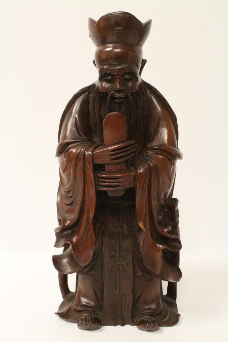 2 rosewood carved figures and pair casted bookends - 7