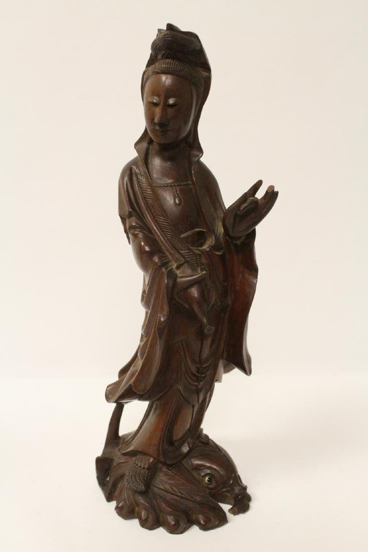 2 rosewood carved figures and pair casted bookends - 9