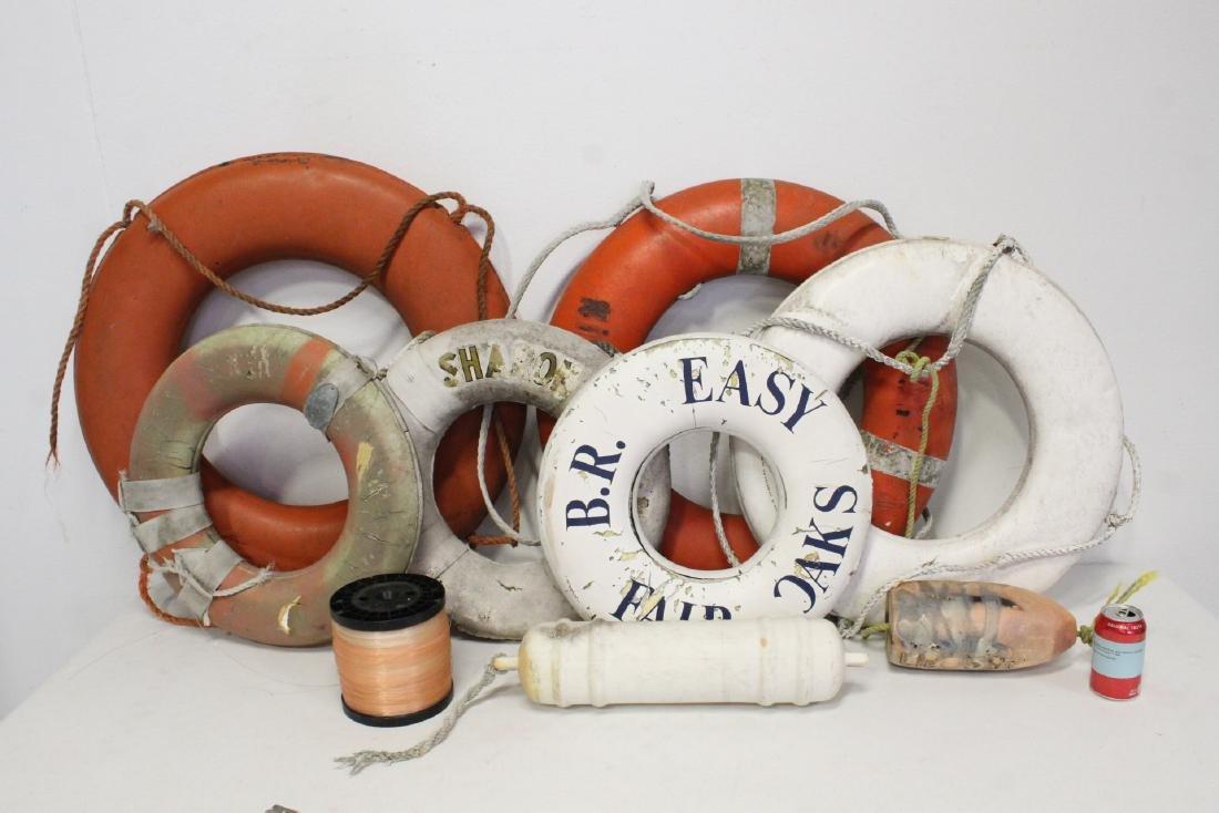 6 vintage life buoy rings