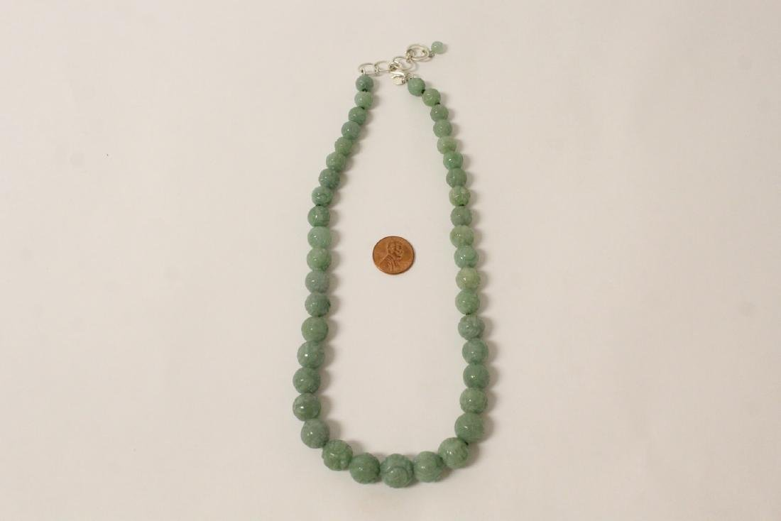 Chinese carved jadeite bead necklace w/ silver clasp
