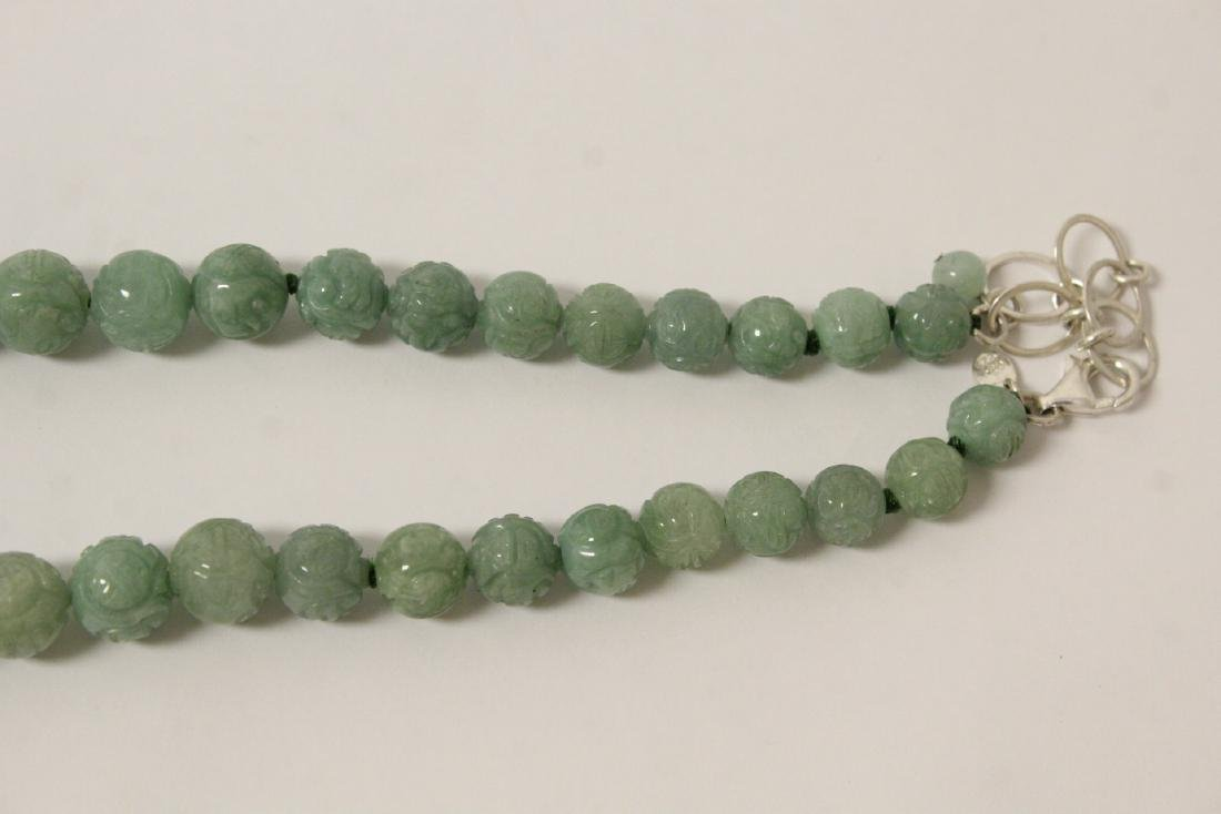 Chinese carved jadeite bead necklace w/ silver clasp - 4