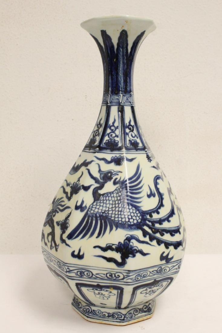 Chinese blue and white octagonal vase - 3