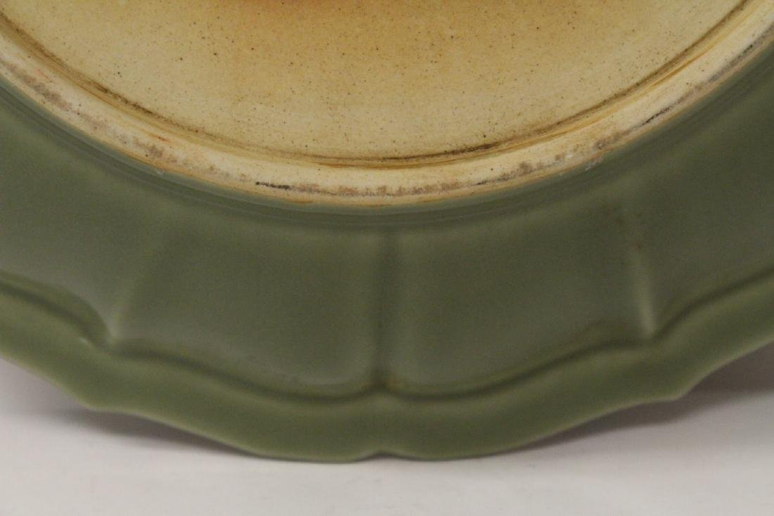 Large Chinese Ming style celadon platter - 9