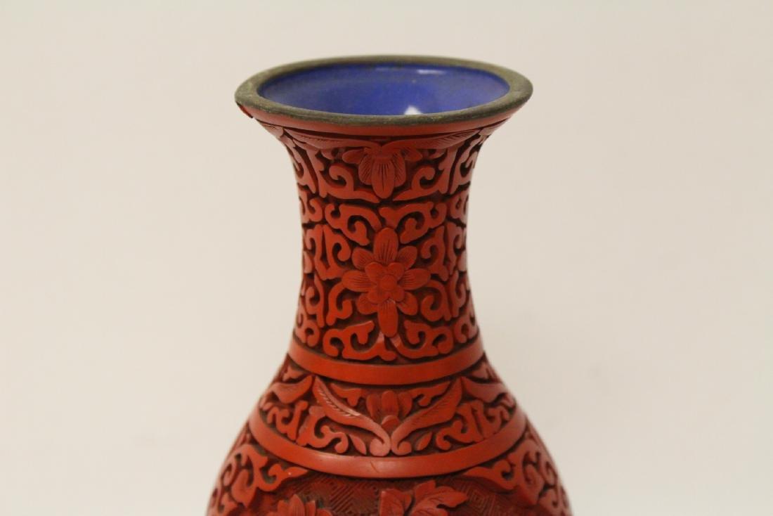 2 Chinese vintage cinnabar vases - 3