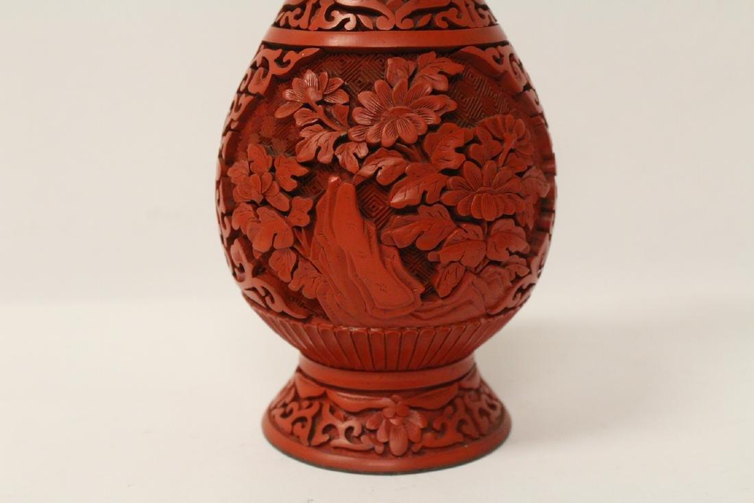 2 Chinese vintage cinnabar vases - 4