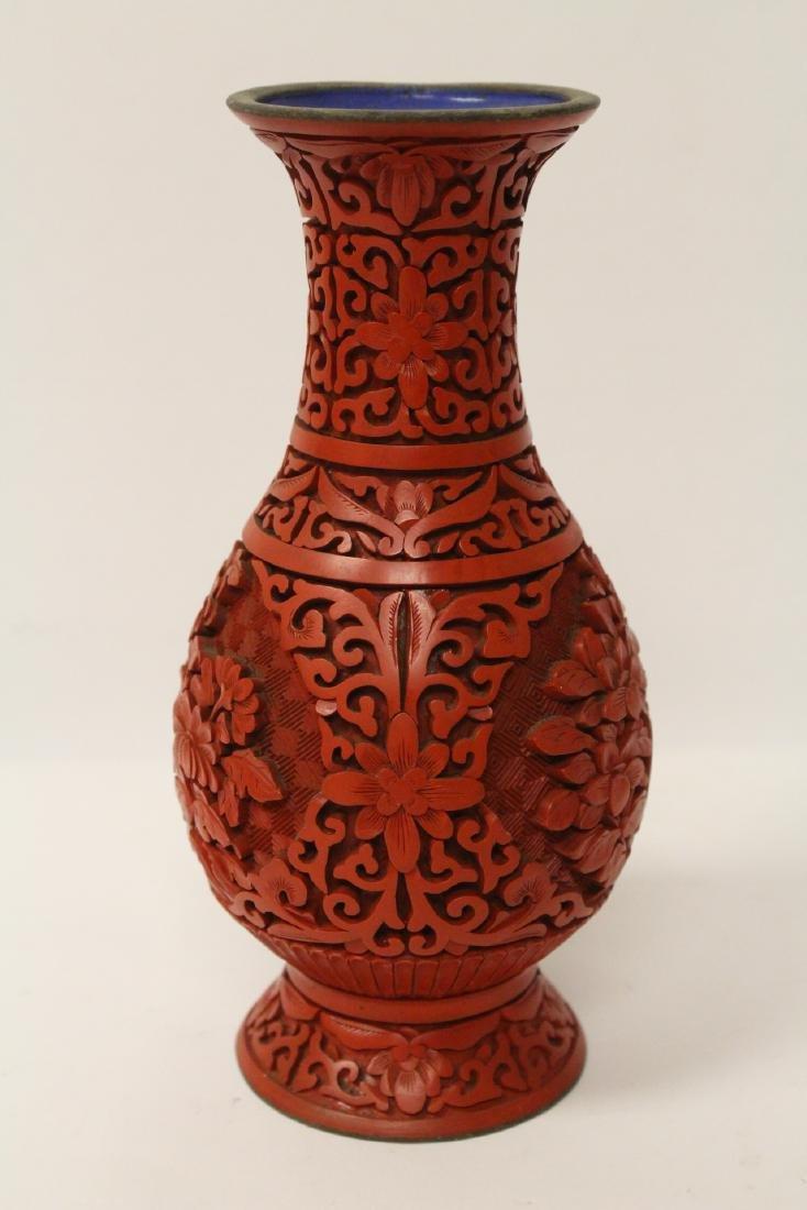 2 Chinese vintage cinnabar vases - 5