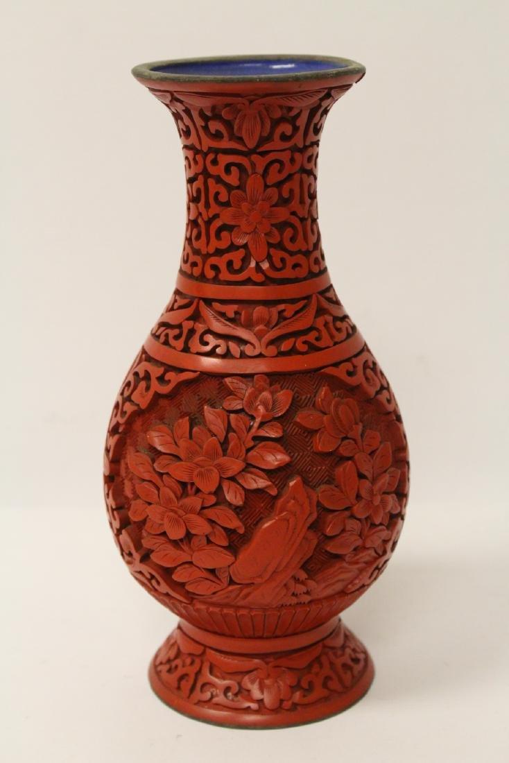 2 Chinese vintage cinnabar vases - 6