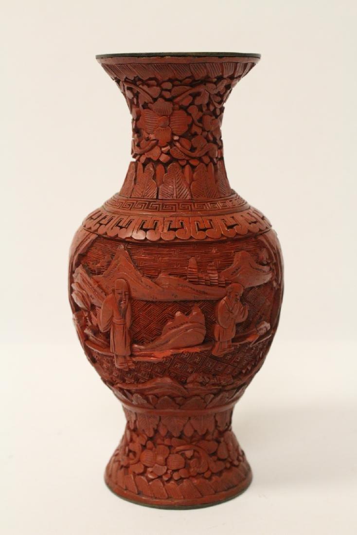 2 Chinese vintage cinnabar vases - 8