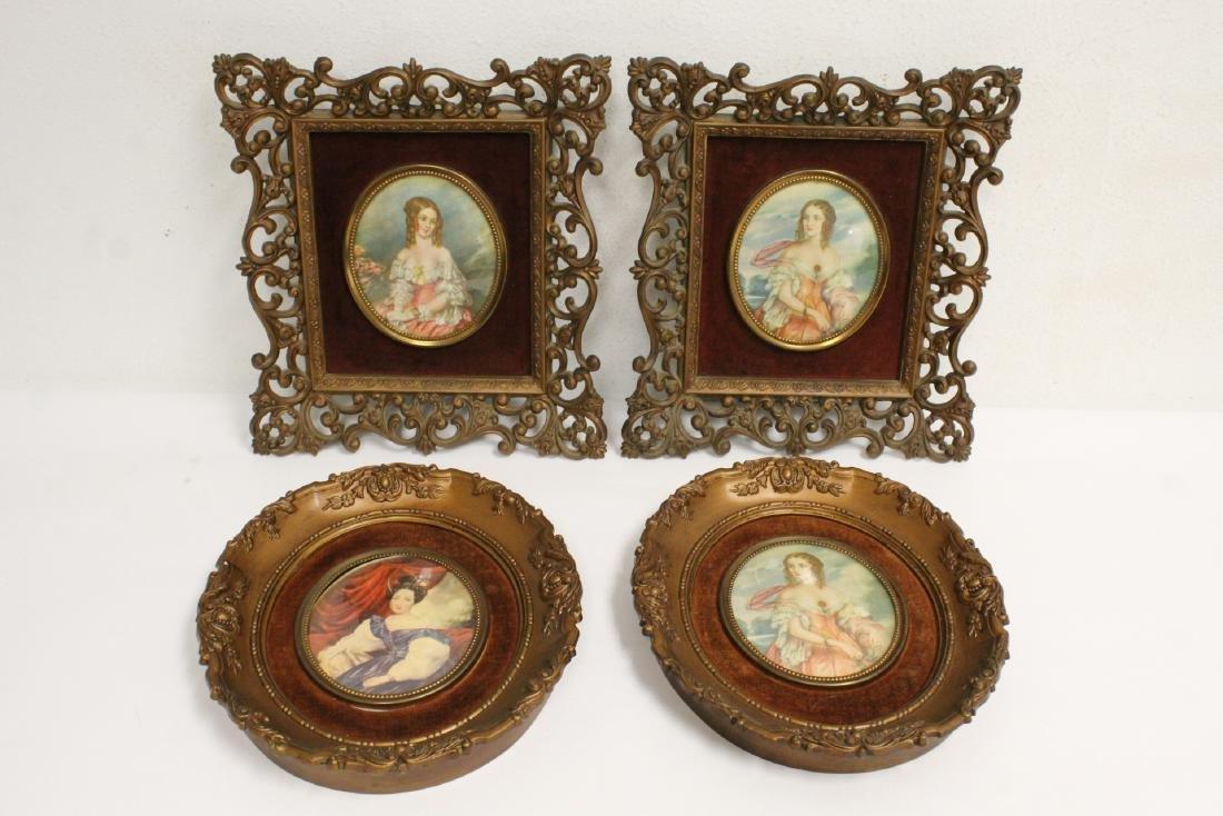 4 framed antique prints