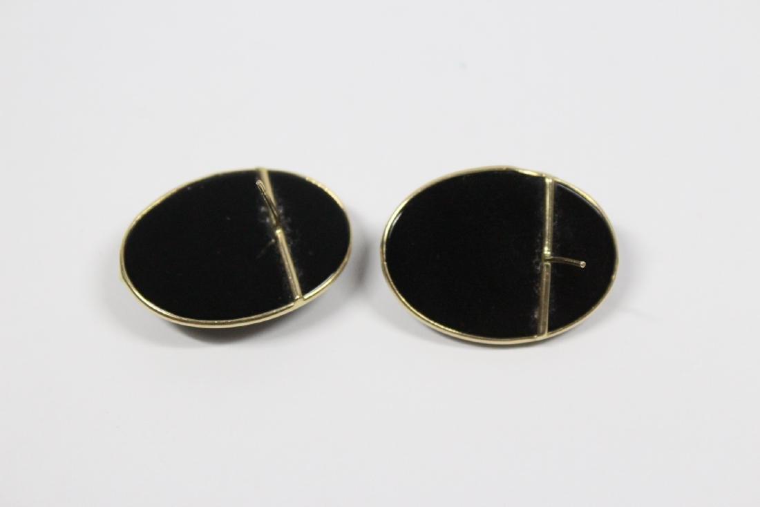Pr 14K onyx earrings, & a onyx & gold bead necklace - 10