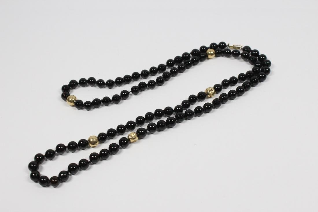 Pr 14K onyx earrings, & a onyx & gold bead necklace - 2