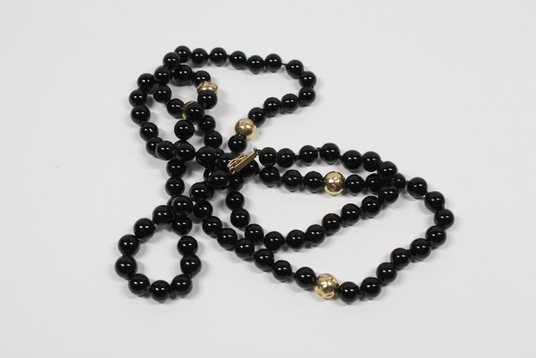 Pr 14K onyx earrings, & a onyx & gold bead necklace - 5