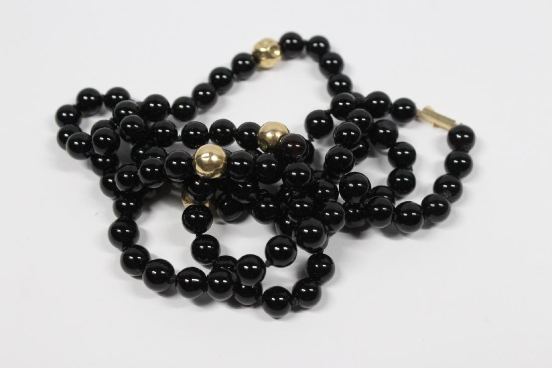 Pr 14K onyx earrings, & a onyx & gold bead necklace - 6