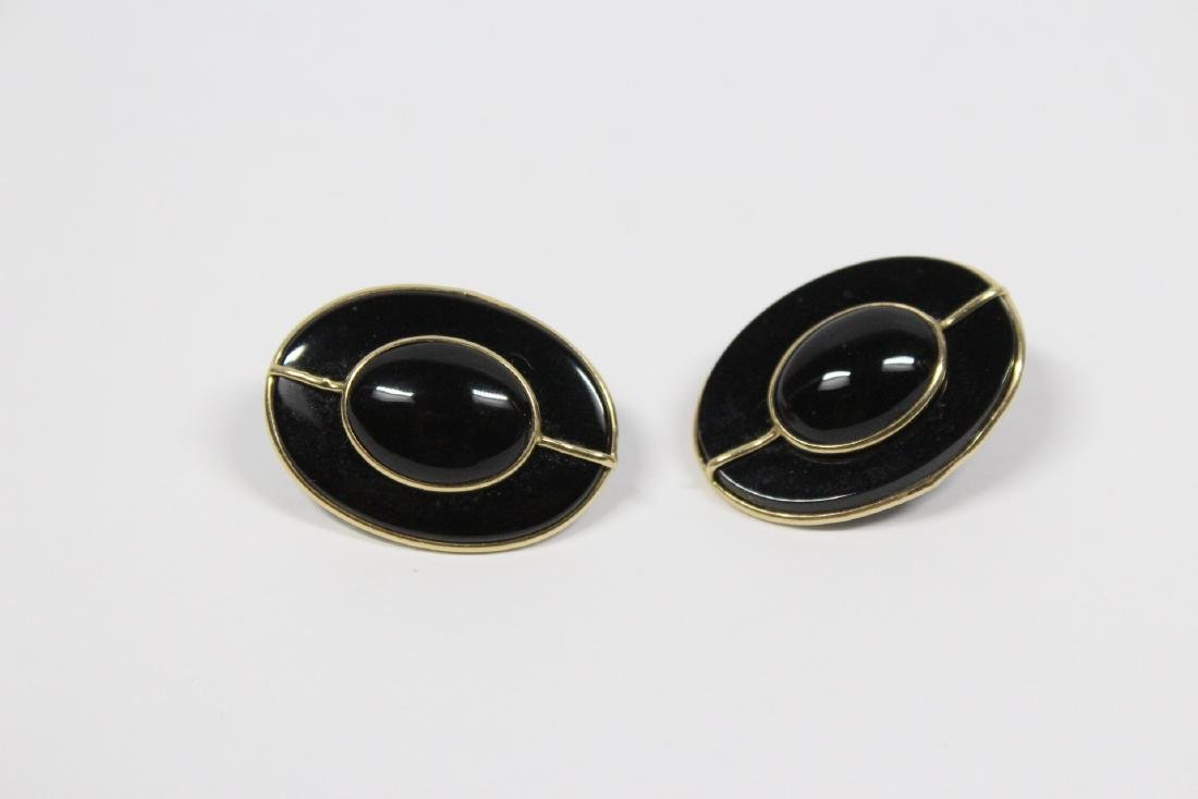Pr 14K onyx earrings, & a onyx & gold bead necklace - 7