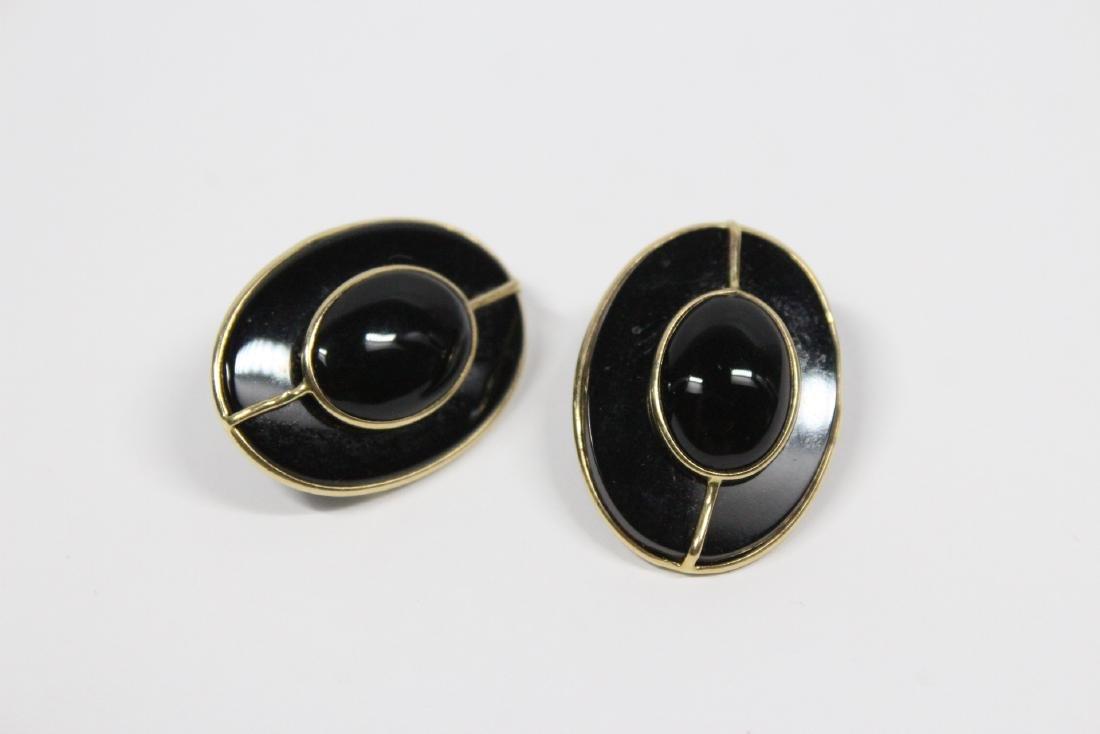 Pr 14K onyx earrings, & a onyx & gold bead necklace - 8