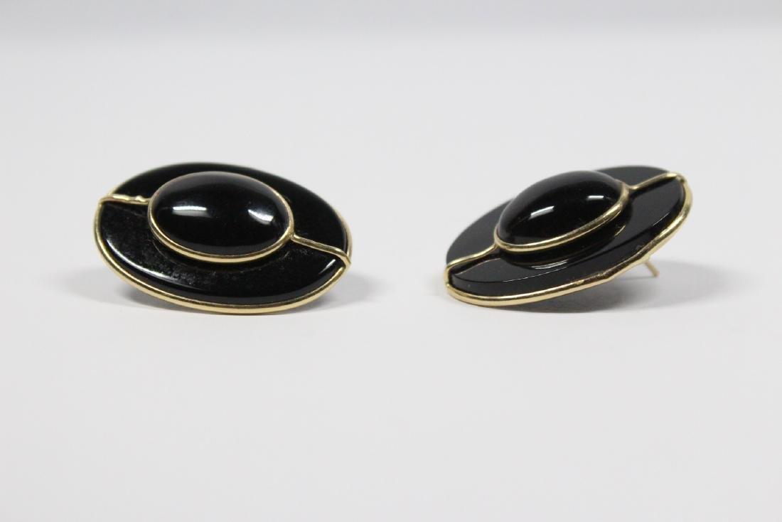 Pr 14K onyx earrings, & a onyx & gold bead necklace - 9