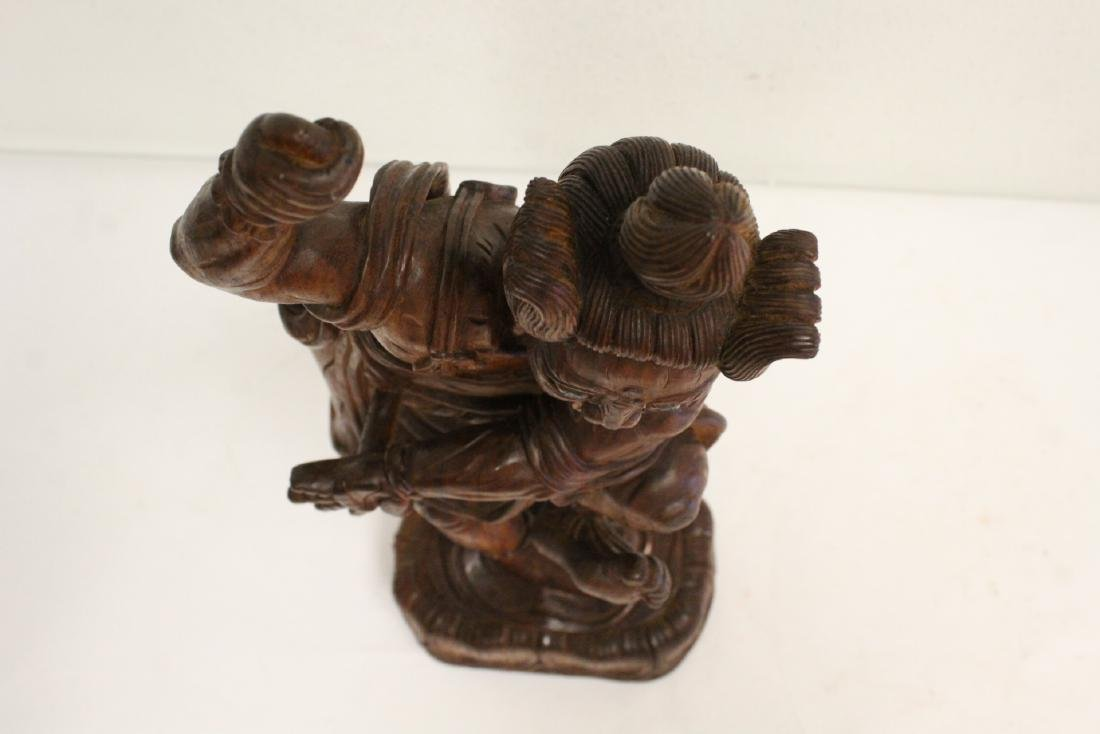 Chinese wood carved Lohan - 5