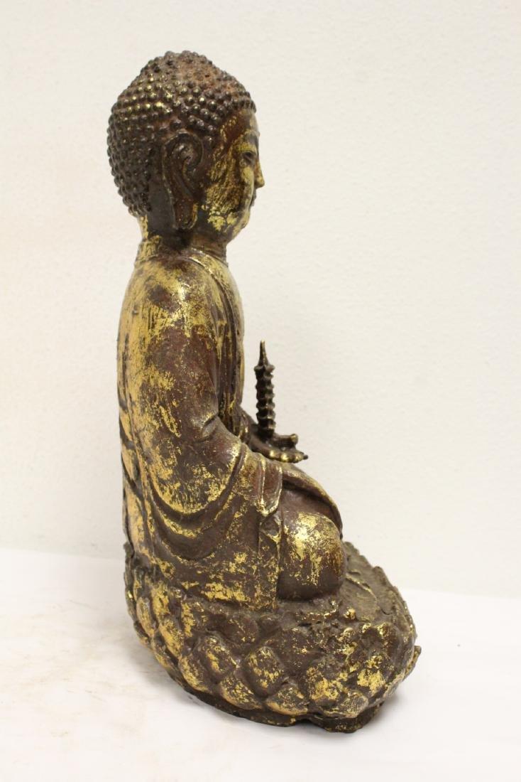 Bronze sculpture of seated Buddha - 4