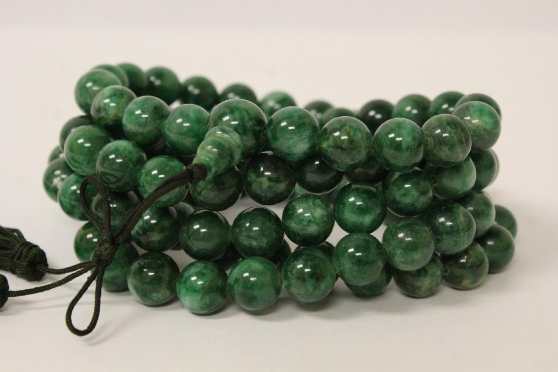 A long jade like stone bead necklace - 10